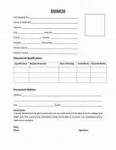 Biodata Sample Word Format Biodata Resume Format