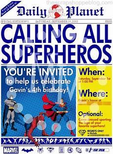 Superhero Invite Template Superhero Newspaper Birthday Invitation The Scrap Shoppe