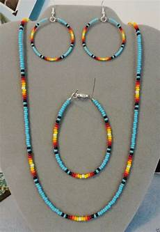 blue turquoise sunburst beaded necklace earring bracelet