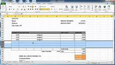 Creating A Template Create An Invoice In Excel 2010 Youtube