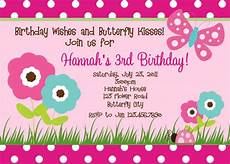 Birthday Invitations Girls Printable Birthday Invitations Butterfly Party Little Girl