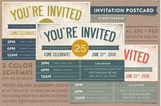 Invitation Postcard Template Invitation Postcard Invitation Templates On Creative Market