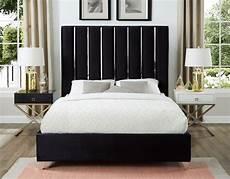 berwyn modern black velvet platform bed with