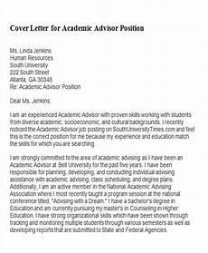 Advisor Cover Letter Free 6 Sample Academic Advisor Cover Letter Templates In