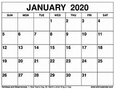January 2020 Calendar Download Free Printable January 2021 Calendars