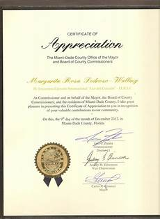 Wording For Certificate Certificate Of Appreciation Miami Dade County 2012