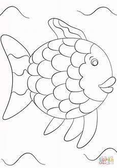 rainbow fish template coloring page free printable