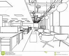 Perspective Office Interior Outline Sketch Drawing Perspective Office Stock