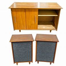 mid century modern stereo cabinet with fisher speakers ebth