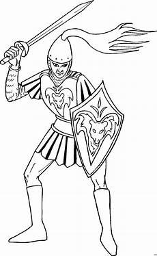 Malvorlage Ritter Einfach Ritter Mit Schwert Und Schild Ausmalbild Malvorlage