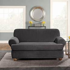 Sofa Slipcovers With 2 Cushions 3d Image by Surefit Stretch Pinstripe 2 T Cushion Sofa Slipcover