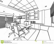 Perspective Office Outline Sketch Of A Interior Stock Illustration