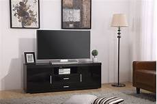 high gloss tv unit cabinet 2 drawer 2 door black