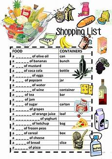 Making A Grocery List Worksheet Food Containers Shopping List Fill In Review Worksheet