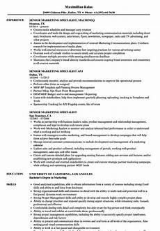 Marketing Specialist Resume Sample Senior Marketing Specialist Resume Samples Velvet Jobs