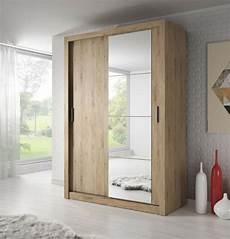 modern bedroom mirror sliding wardrobe arti 4 150cm in oak