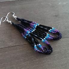 beadwork black beaded earrings black and purple beadwork