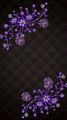 Iphone Wallpaper Black With Flower by Purple Flowers On Black Background Cellphone Wallpaper