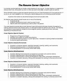 Objective For A Resume Free 8 Sample Resume Objective Templates In Pdf Ms Word