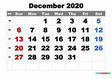 Print Free Monthly Calendar 2020 Free Printable December 2020 Calendar Word Pdf Image