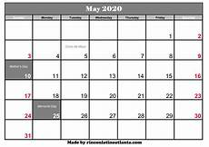 2020 Printable Monthly Calendar With Holidays May 2020 Calendar With Holiday Calendar Template Printable