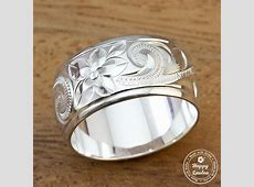 925 Sterling Silver Hand Engraved Old English Design Ring