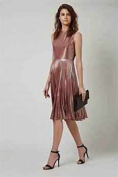 lyst topshop metallic lam 233 pleated midi dress in pink