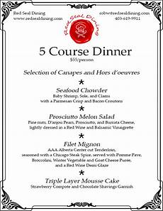 5 Course Meal Menu Template Our Services Red Seal Dining