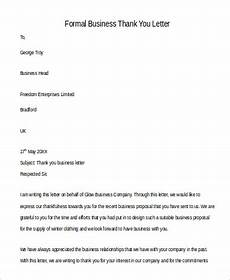 Sample Thank You Business Letters Free 9 Sample Formal Thank You Letter Templates In Ms