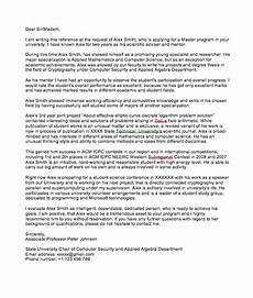 Letter Of Recommendation For Masters Program Letter Of Recommendation From Professor For Masters Degree