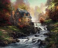 kinkade cottage painting cobblestone mill limited edition canvas kinkade