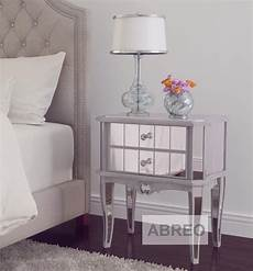 mirror silver trim bedroom furniture bedside table console