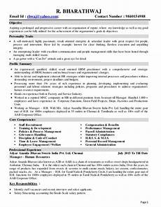 Characteristics For Resume Profile Of Senior Human Resources Professional With 19 Yrs
