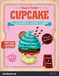 Cake Poster Design Vintage Cupcake Poster Design Stock Vector Illustration