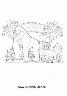 ausmalbild affen im zoo kostenlos ausdrucken
