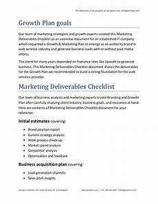 Marketing Deliverables Marketing Deliverables Checklist Sample Pdf From Upreports