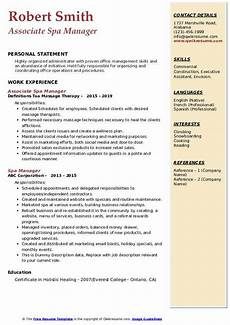 Spa Therapist Cv Spa Manager Resume Samples Qwikresume
