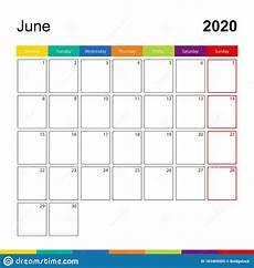 June 2020 Weekly Calendar June 2020 Colorful Wall Calendar Week Starts On Monday