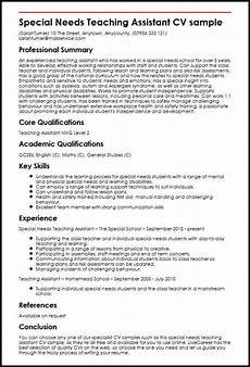 Special Needs Teaching Assistant Cv Sample Myperfectcv