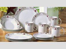 16 pc Country Star Red & White Ceramic Dinnerware