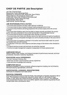 Chef De Partie Cover Letter Chef De Partie Job Description