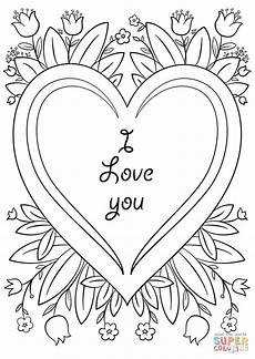 s day card quot i you quot coloring page free