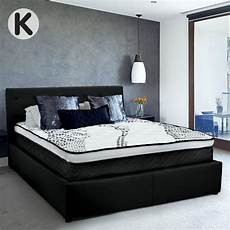 buy king fabric gas lift bed frame with headboard black