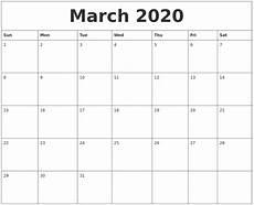 March 2020 Calendar Printable March 2020 Monthly Printable Calendar