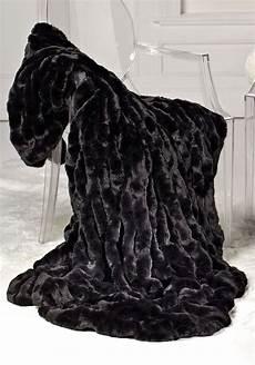 luxury fashion designer couture black mink faux fur throw