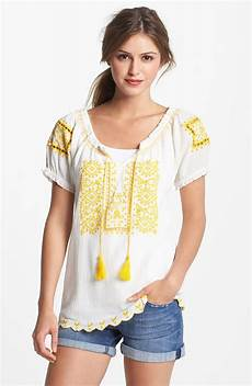 embroidered peasant blouse mens lucky brand sofi embroidered eyelet peasant top in white