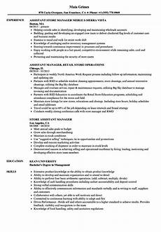 Store Assistant Duties Assistant Retail Managers Resume Template Mt Home Arts