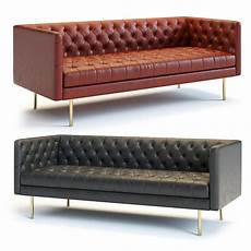 Modern Leather Sofa 3d Image by West Elm Modern Chesterfield Sofa 3d Model Cgtrader