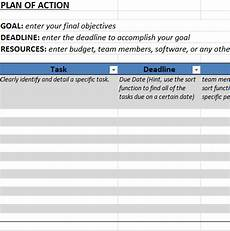 Action Plans Templates Excel Action Plan Template In Excel Business Templates
