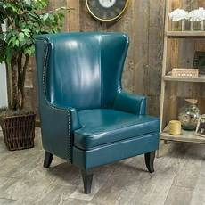 living room furniture wingback teal blue leather club